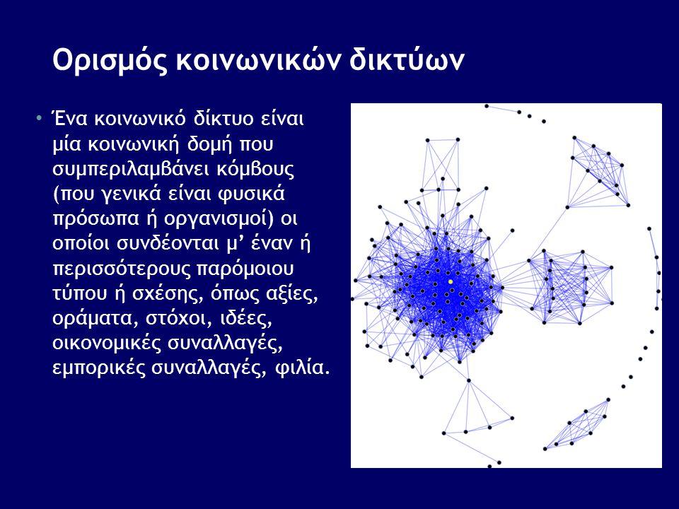 Ορισμός κοινωνικών δικτύων • Ένα κοινωνικό δίκτυο είναι μία κοινωνική δομή που συμπεριλαμβάνει κόμβους (που γενικά είναι φυσικά πρόσωπα ή οργανισμοί)