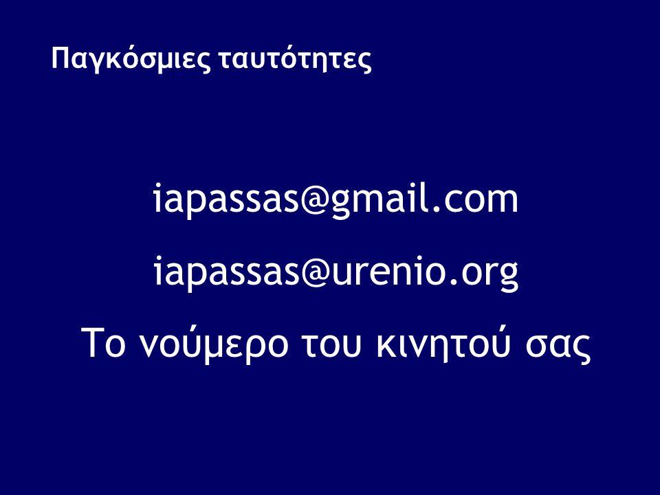 Παγκόσμιες ταυτότητες iapassas@gmail.com iapassas@urenio.org Το νούμερο του κινητού σας