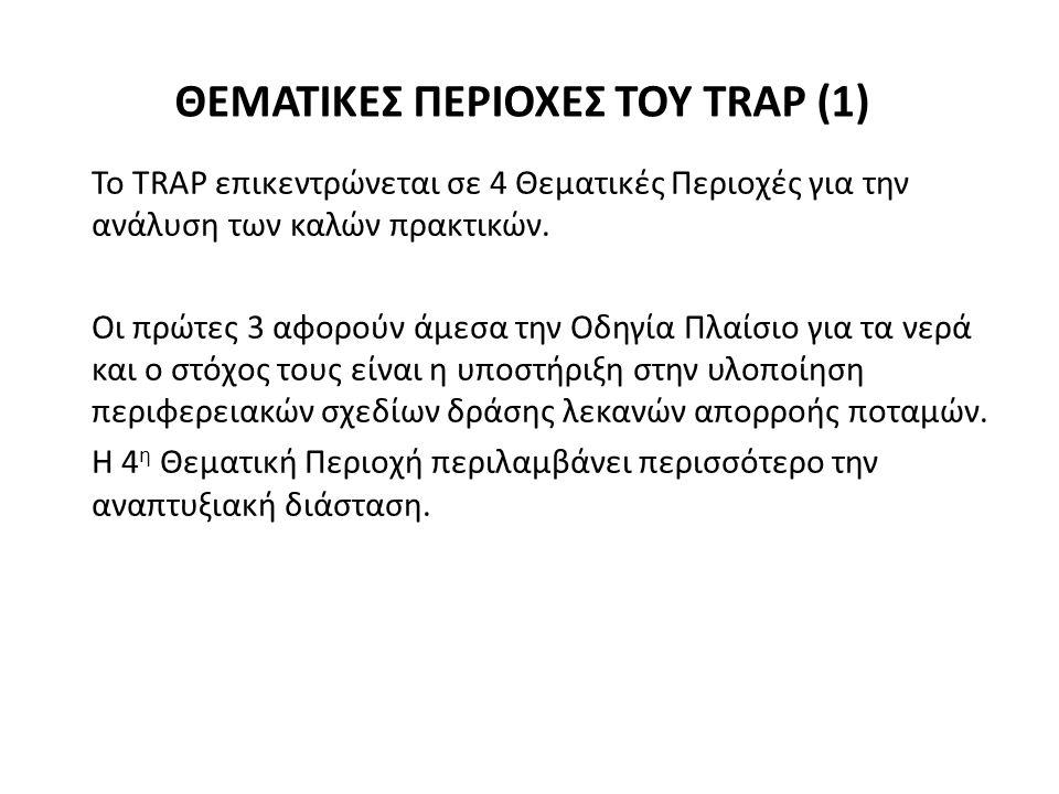 ΘΕΜΑΤΙΚΕΣ ΠΕΡΙΟΧΕΣ ΤΟΥ TRAP (1) Το TRAP επικεντρώνεται σε 4 Θεματικές Περιοχές για την ανάλυση των καλών πρακτικών.