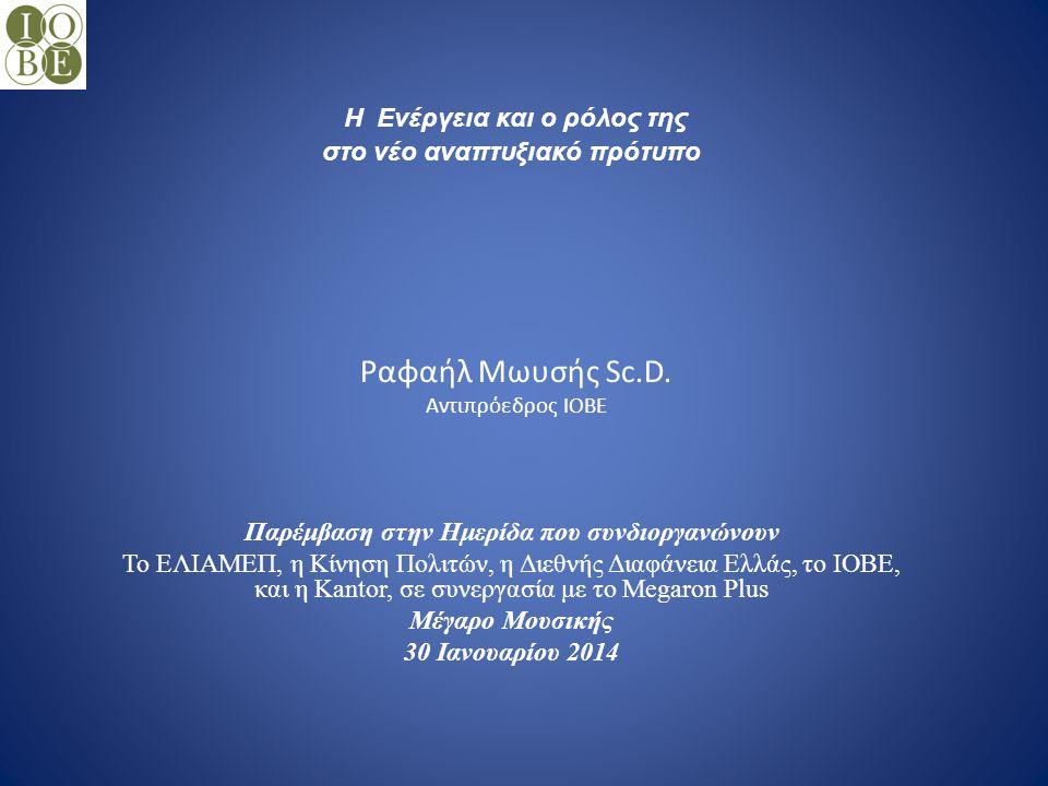 Ραφαήλ Μωυσής Sc.D. Αντιπρόεδρος ΙΟΒΕ Παρέμβαση στην Ημερίδα που συνδιοργανώνουν Το ΕΛΙΑΜΕΠ, η Κίνηση Πολιτών, η Διεθνής Διαφάνεια Ελλάς, το ΙΟΒΕ, και