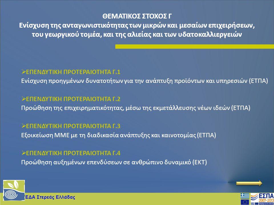 ΕΔΑ Στερεάς Ελλάδας  ΕΠΕΝΔΥΤΙΚΗ ΠΡΟΤΕΡΑΙΟΤΗΤΑ Γ.1 Ενίσχυση προηγμένων δυνατοτήτων για την ανάπτυξη προϊόντων και υπηρεσιών (ΕΤΠΑ)  ΕΠΕΝΔΥΤΙΚΗ ΠΡΟΤΕΡ