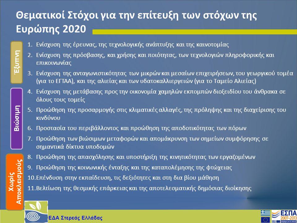 ΕΔΑ Στερεάς Ελλάδας Θεματικοί Στόχοι για την επίτευξη των στόχων της Ευρώπης 2020 1.Ενίσχυση της έρευνας, της τεχνολογικής ανάπτυξης και της καινοτομί
