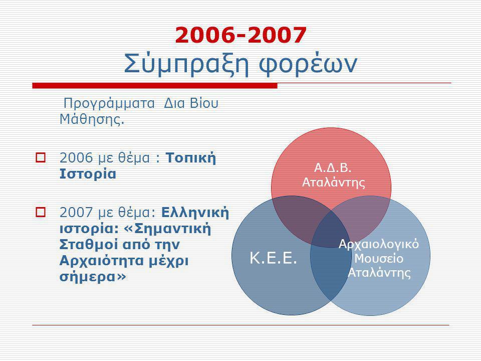 2006-2007 Σύμπραξη φορέων Προγράμματα Δια Βίου Μάθησης.  2006 με θέμα : Τοπική Ιστορία  2007 με θέμα: Ελληνική ιστορία: «Σημαντική Σταθμοί από την Α