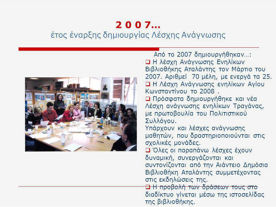 2 0 0 7… έτος έναρξης δημιουργίας Λέσχης Ανάγνωσης Από το 2007 δημιουργήθηκαν…:  Η λέσχη Ανάγνωσης Ενηλίκων Βιβλιοθήκης Αταλάντης τον Μάρτιο του 2007