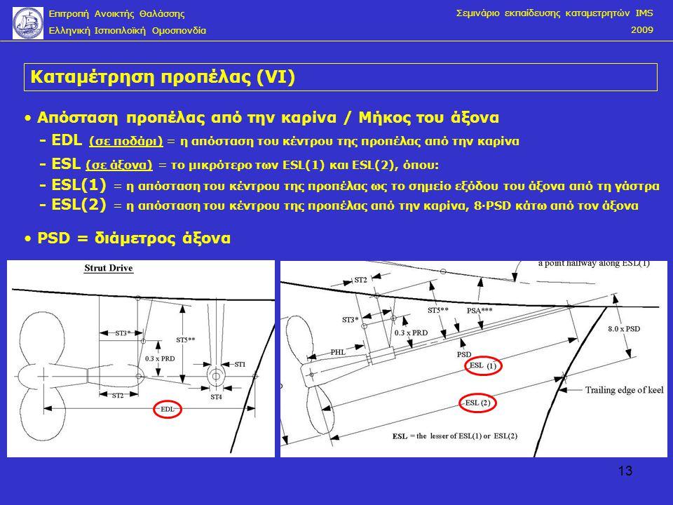 13 Καταμέτρηση προπέλας (VΙ) Σεμινάριο εκπαίδευσης καταμετρητών IMS 2009 Επιτροπή Ανοικτής Θαλάσσης Ελληνική Ιστιοπλοϊκή Ομοσπονδία • Απόσταση προπέλα
