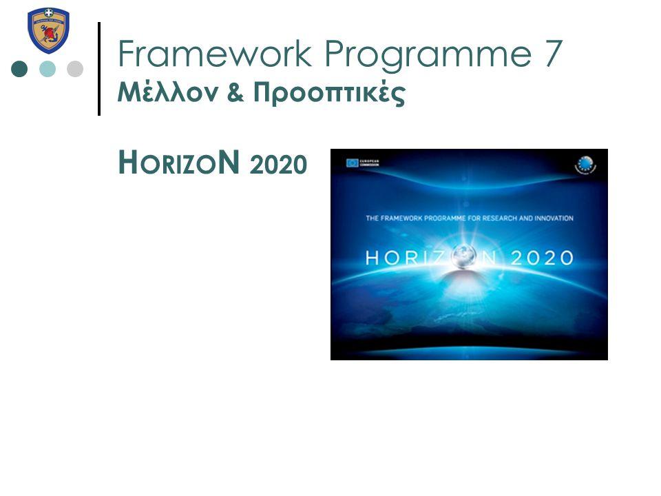 Framework Programme 7 Μέλλον & Προοπτικές H ORIZO N 2020
