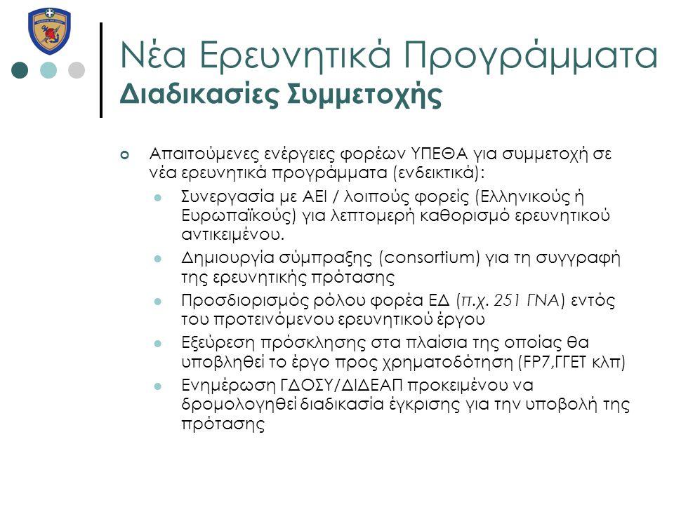 Νέα Ερευνητικά Προγράμματα Διαδικασίες Συμμετοχής Απαιτούμενες ενέργειες φορέων ΥΠΕΘΑ για συμμετοχή σε νέα ερευνητικά προγράμματα (ενδεικτικά):  Συνε