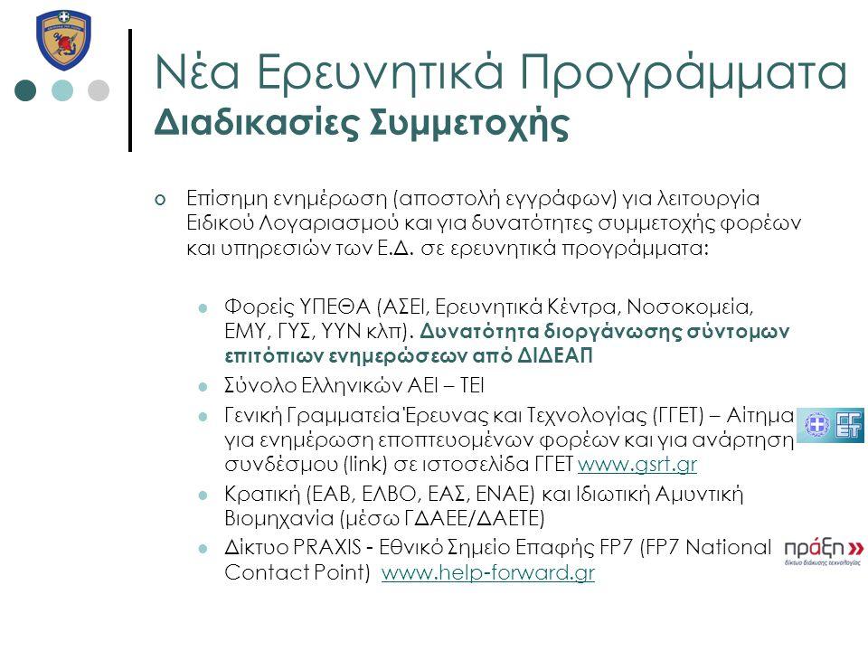 Νέα Ερευνητικά Προγράμματα Διαδικασίες Συμμετοχής Επίσημη ενημέρωση (αποστολή εγγράφων) για λειτουργία Ειδικού Λογαριασμού και για δυνατότητες συμμετο