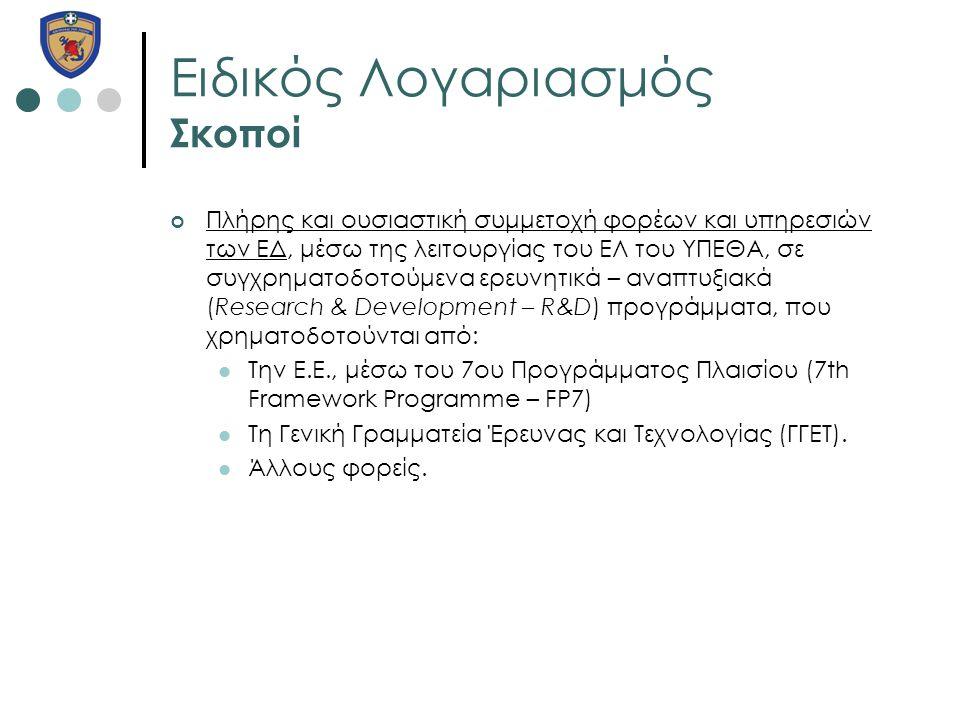 Ειδικός Λογαριασμός Σκοποί Πλήρης και ουσιαστική συμμετοχή φορέων και υπηρεσιών των ΕΔ, μέσω της λειτουργίας του ΕΛ του ΥΠΕΘΑ, σε συγχρηματοδοτούμενα