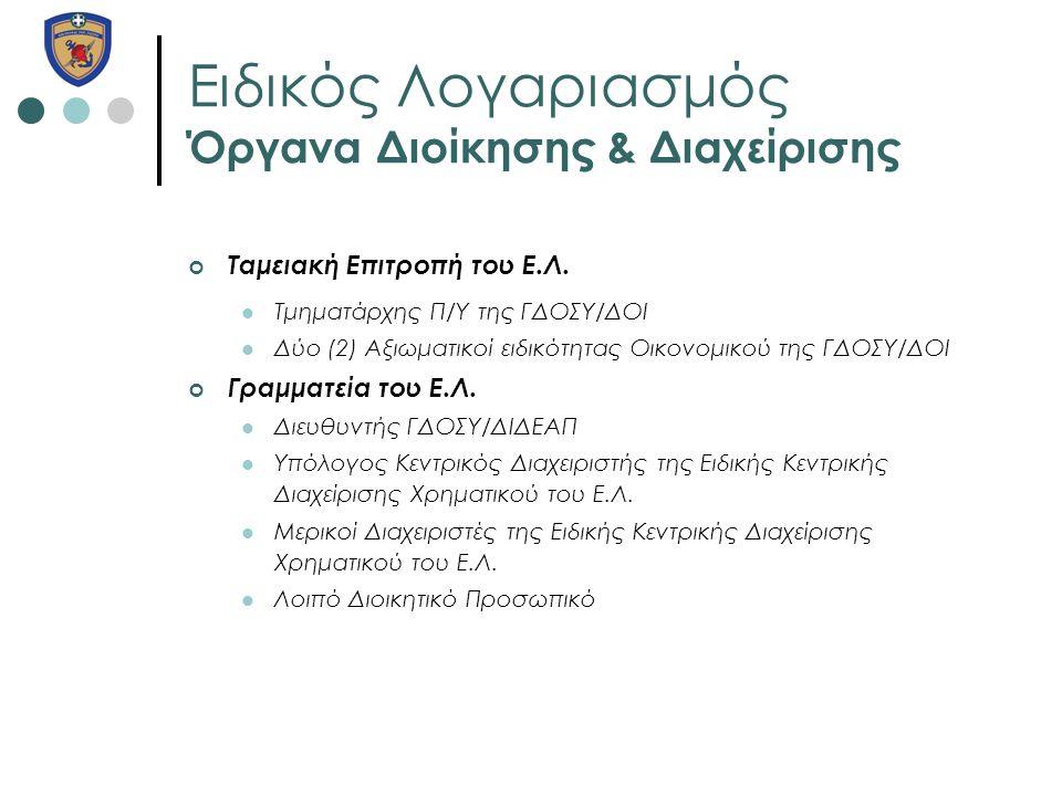 Ειδικός Λογαριασμός Όργανα Διοίκησης & Διαχείρισης Ταμειακή Επιτροπή του Ε.Λ.  Τμηματάρχης Π/Υ της ΓΔΟΣΥ/ΔΟΙ  Δύο (2) Αξιωματικοί ειδικότητας Οικονο