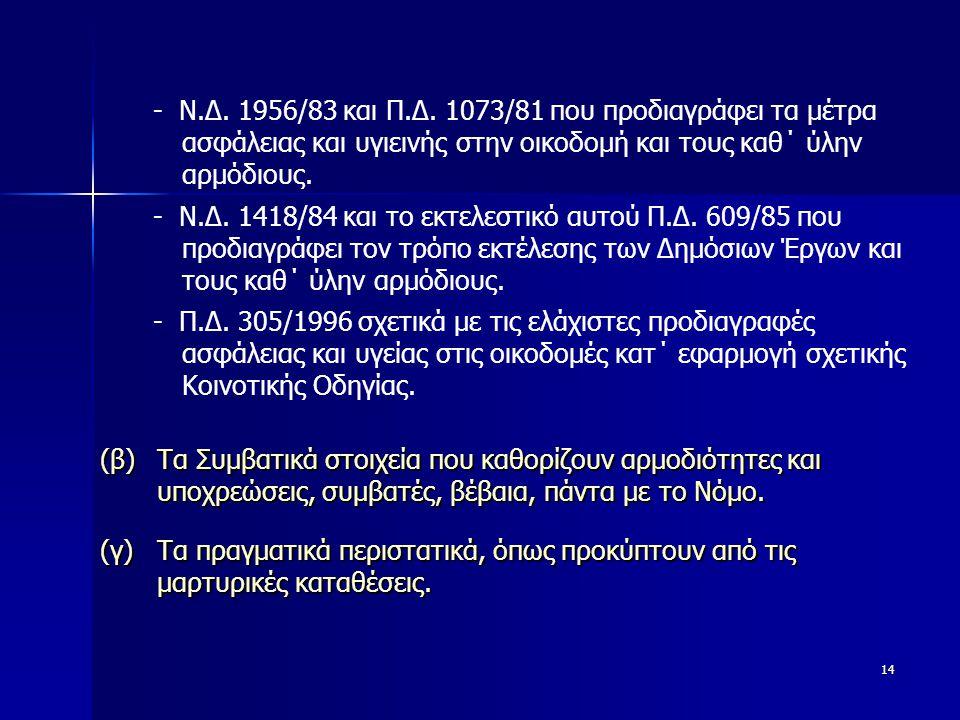 14 - Ν.Δ. 1418/84 και το εκτελεστικό αυτού Π.Δ.