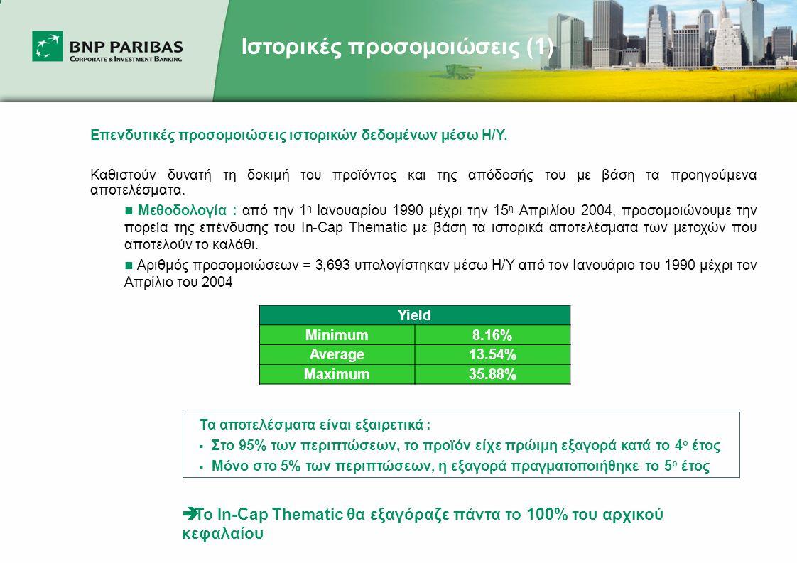 Ιστορικές προσομοιώσεις (1) Επενδυτικές προσομοιώσεις ιστορικών δεδομένων μέσω Η/Υ.