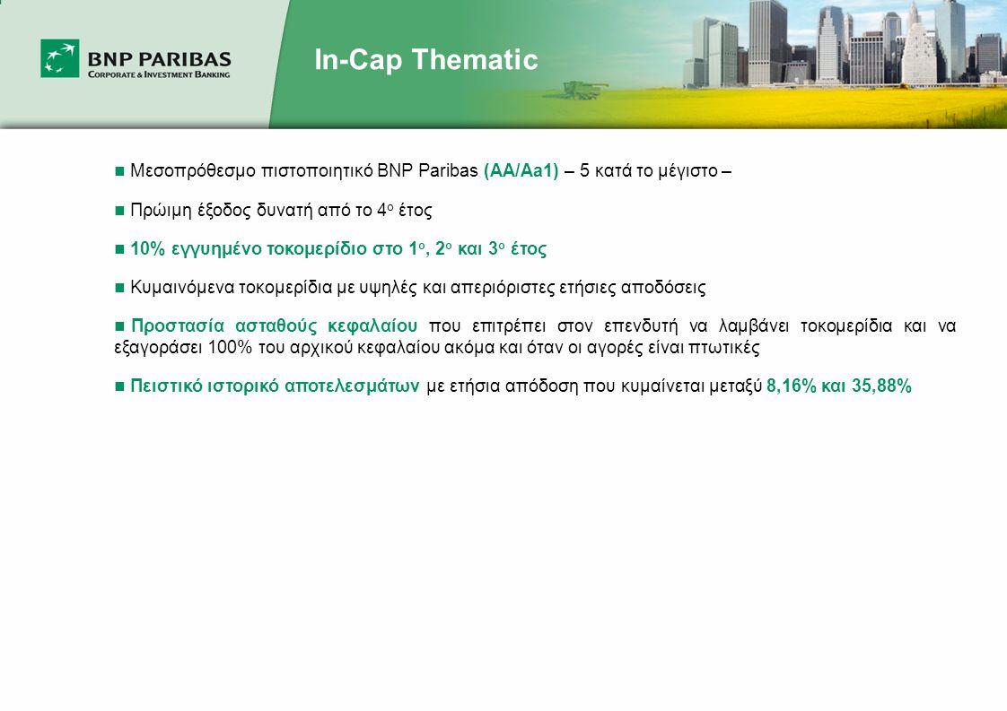 In-Cap Thematic  Μεσοπρόθεσμο πιστοποιητικό BNP Paribas (AA/Aa1) – 5 κατά το μέγιστο –  Πρώιμη έξοδος δυνατή από το 4 ο έτος  10% εγγυημένο τοκομερίδιο στο 1 ο, 2 ο και 3 ο έτος  Κυμαινόμενα τοκομερίδια με υψηλές και απεριόριστες ετήσιες αποδόσεις  Προστασία ασταθούς κεφαλαίου που επιτρέπει στον επενδυτή να λαμβάνει τοκομερίδια και να εξαγοράσει 100% του αρχικού κεφαλαίου ακόμα και όταν οι αγορές είναι πτωτικές  Πειστικό ιστορικό αποτελεσμάτων με ετήσια απόδοση που κυμαίνεται μεταξύ 8,16% και 35,88%