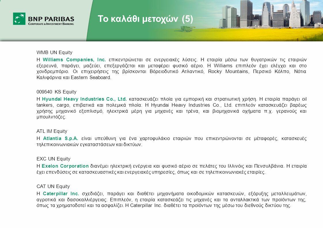 Το καλάθι μετοχών (5) WMB UN Equity Η Williams Companies, Inc.