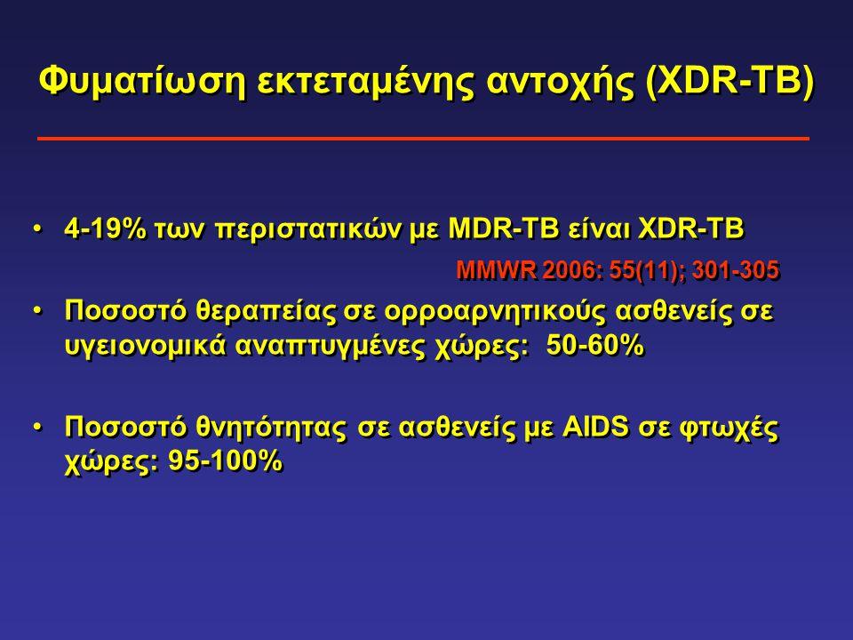 Φυματίωση εκτεταμένης αντοχής (XDR-TB) •4-19% των περιστατικών με MDR-TB είναι XDR-TB MMWR 2006: 55(11); 301-305 •Ποσοστό θεραπείας σε ορροαρνητικούς