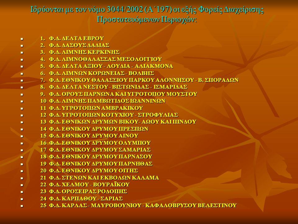 Ιδρύονται με τον νόμο 3044/2002 (Α΄197) οι εξής Φορείς Διαχείρισης Προστατευόμενων Περιοχών:  1. Φ.Δ. ΔΕΛΤΑ ΕΒΡΟΥ  2. Φ.Δ. ΔΑΣΟΥΣ ΔΑΔΙΑΣ  3. Φ.Δ. Λ