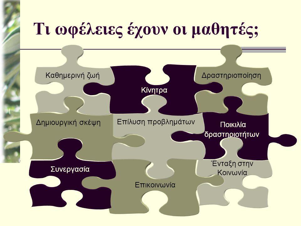 Τι ωφέλειες έχουν οι μαθητές; Ποικιλία δραστηριοτήτων Επικοινωνία Ένταξη στην Κοινωνία Επίλυση προβλημάτων Δημιουργική σκέψη Συνεργασία Κίνητρα Δραστη