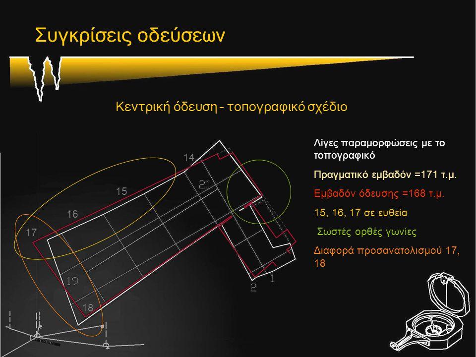 Συγκρίσεις οδεύσεων Κεντρική όδευση – τοπογραφικό σχέδιο Λίγες παραμορφώσεις με το τοπογραφικό Πραγματικό εμβαδόν =171 τ.μ. Εμβαδόν όδευσης =168 τ.μ.