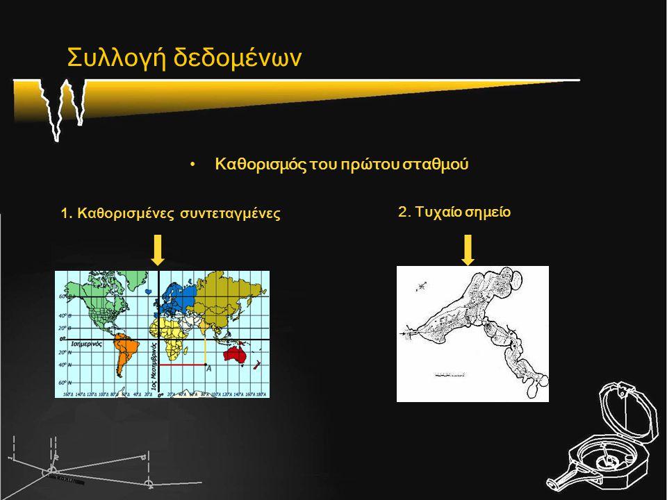•Καθορισμός σημείων για κάθε επόμενο: απόσταση αζιμούθιο υψομετρική διαφορά - κλίση Συλλογή δεδομένων