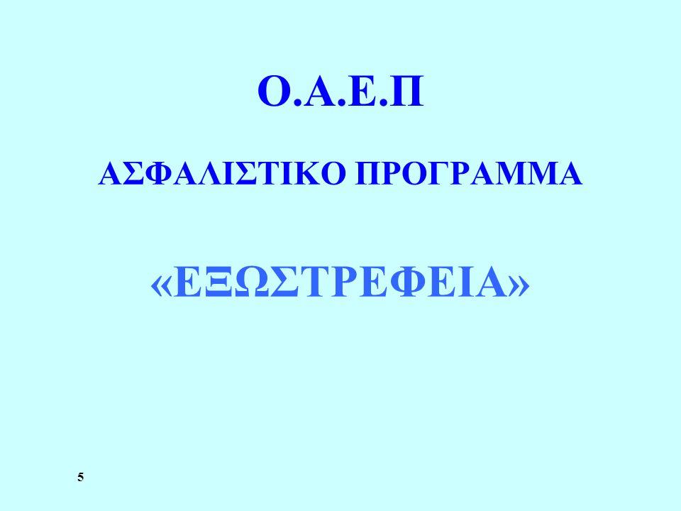 5 Ο.Α.Ε.Π ΑΣΦΑΛΙΣΤΙΚΟ ΠΡΟΓΡΑΜΜΑ «ΕΞΩΣΤΡΕΦΕΙΑ»