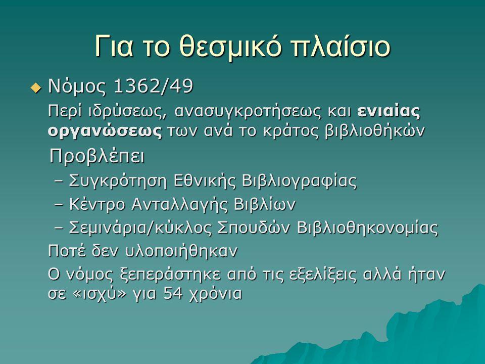 Για το θεσμικό πλαίσιο  Νόμος 1362/49 Περί ιδρύσεως, ανασυγκροτήσεως και ενιαίας οργανώσεως των ανά το κράτος βιβλιοθήκών Προβλέπει Προβλέπει –Συγκρό