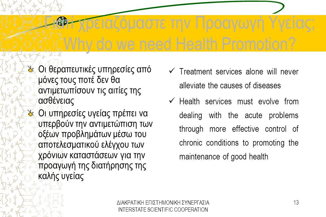 ΔΙΑΚΡΑΤΙΚΗ ΕΠΙΣΤΗΜΟΝΙΚΗ ΣΥΝΕΡΓΑΣΙΑ INTERSTATE SCIENTIFIC COOPERATION 13 Γιατί χρειαζόμαστε την Προαγωγή Υγείας; Why do we need Health Promotion? Οι θε