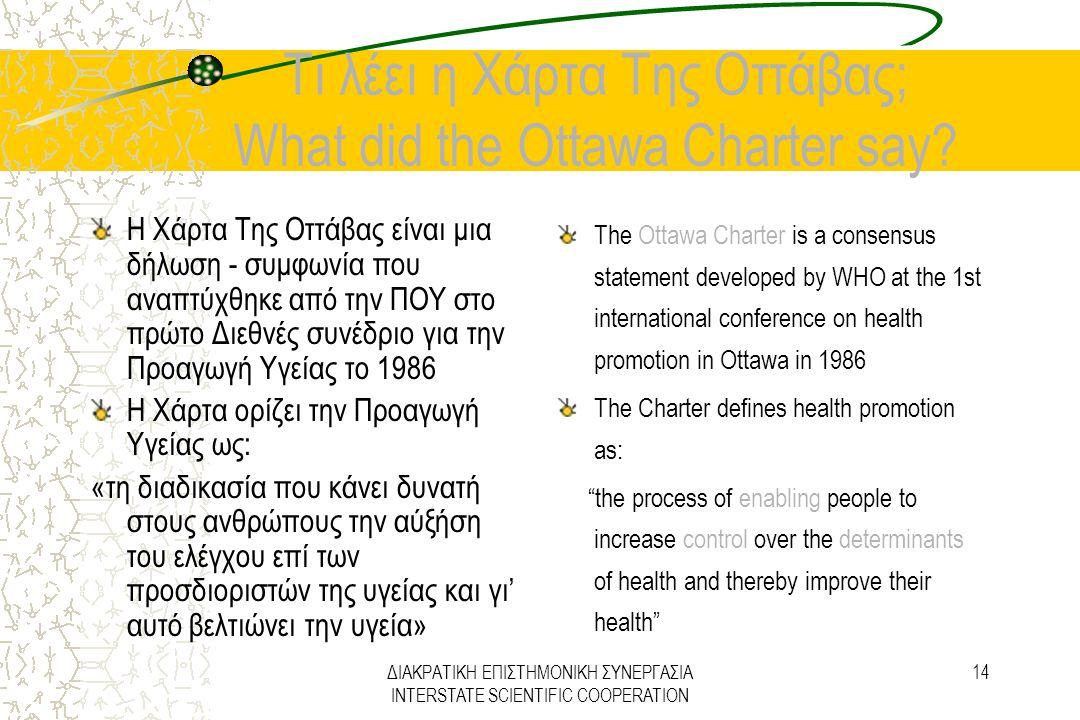 ΔΙΑΚΡΑΤΙΚΗ ΕΠΙΣΤΗΜΟΝΙΚΗ ΣΥΝΕΡΓΑΣΙΑ INTERSTATE SCIENTIFIC COOPERATION 14 Τι λέει η Χάρτα Της Οττάβας; What did the Ottawa Charter say? Η Χάρτα Της Οττά
