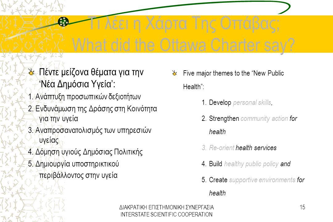 ΔΙΑΚΡΑΤΙΚΗ ΕΠΙΣΤΗΜΟΝΙΚΗ ΣΥΝΕΡΓΑΣΙΑ INTERSTATE SCIENTIFIC COOPERATION 15 Τι λέει η Χάρτα Της Οττάβας; What did the Ottawa Charter say? Πέντε μείζονα θέ