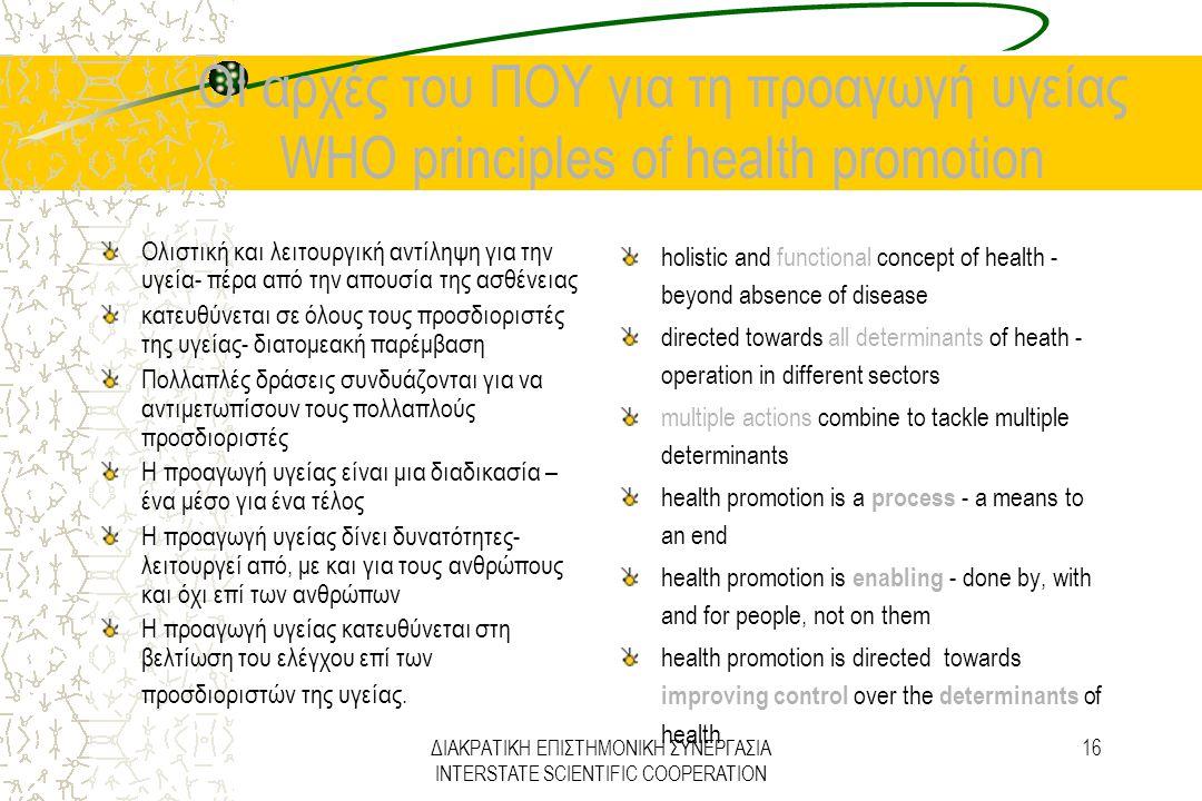 ΔΙΑΚΡΑΤΙΚΗ ΕΠΙΣΤΗΜΟΝΙΚΗ ΣΥΝΕΡΓΑΣΙΑ INTERSTATE SCIENTIFIC COOPERATION 16 ΟΙ αρχές του ΠΟΥ για τη προαγωγή υγείας WHO principles of health promotion Ολι
