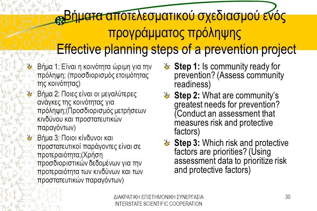 ΔΙΑΚΡΑΤΙΚΗ ΕΠΙΣΤΗΜΟΝΙΚΗ ΣΥΝΕΡΓΑΣΙΑ INTERSTATE SCIENTIFIC COOPERATION 30 Βήματα αποτελεσματικού σχεδιασμού ενός προγράμματος πρόληψης Effective plannin