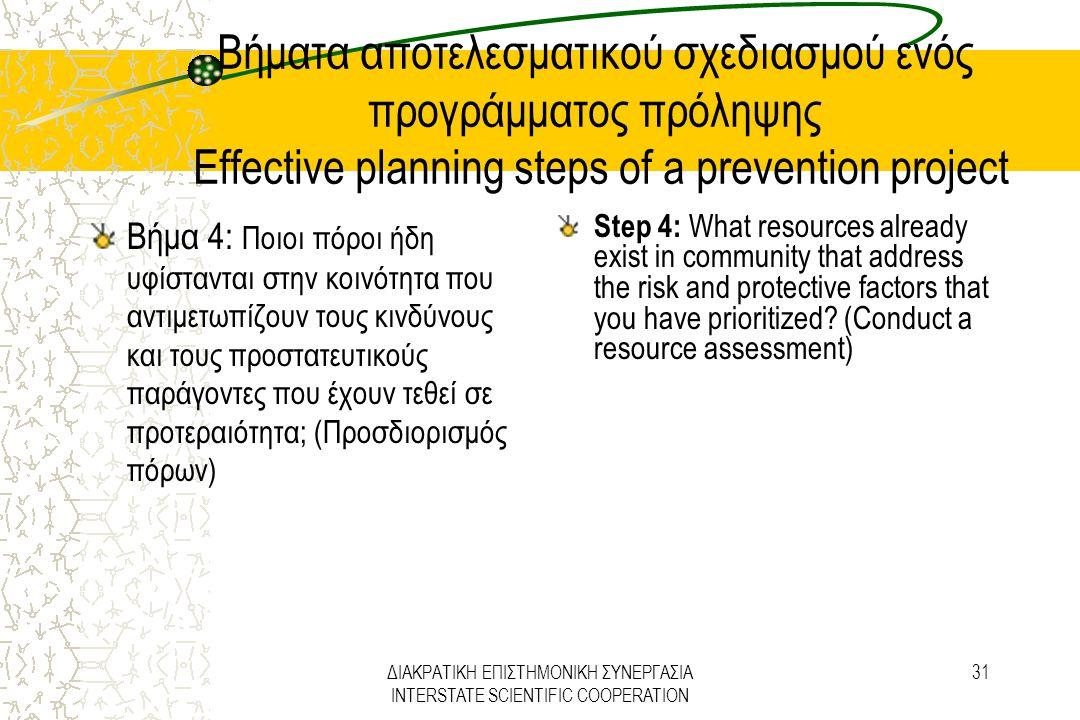 ΔΙΑΚΡΑΤΙΚΗ ΕΠΙΣΤΗΜΟΝΙΚΗ ΣΥΝΕΡΓΑΣΙΑ INTERSTATE SCIENTIFIC COOPERATION 31 Βήματα αποτελεσματικού σχεδιασμού ενός προγράμματος πρόληψης Effective plannin