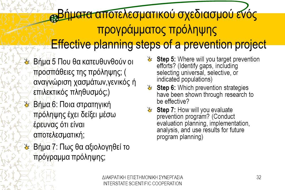 ΔΙΑΚΡΑΤΙΚΗ ΕΠΙΣΤΗΜΟΝΙΚΗ ΣΥΝΕΡΓΑΣΙΑ INTERSTATE SCIENTIFIC COOPERATION 32 Βήματα αποτελεσματικού σχεδιασμού ενός προγράμματος πρόληψης Effective plannin