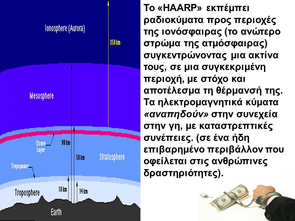 Κύριος στόχος του «HAARP» είναι η χρησιμοποίηση της ιονόσφαιρας για αμυντικούς σκοπούς, η δημιουργία δηλαδή μίας ηλεκτρομαγνητικής ασπίδας, ως αμυντικό όπλο για την προστασία από κάθε είδους επιθέσεων, δια μέσω οπλικών συστημάτων υψηλής τεχνολογίας...