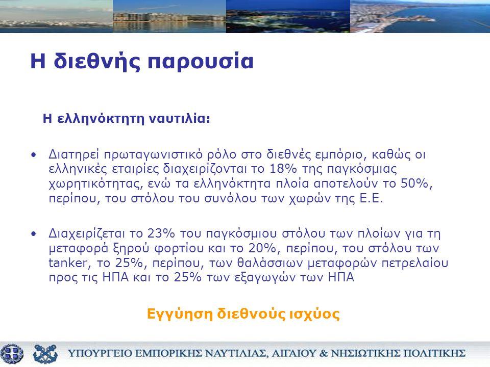 Η διεθνής παρουσία Η ελληνόκτητη ναυτιλία: •Διατηρεί πρωταγωνιστικό ρόλο στο διεθνές εμπόριο, καθώς οι ελληνικές εταιρίες διαχειρίζονται το 18% της παγκόσμιας χωρητικότητας, ενώ τα ελληνόκτητα πλοία αποτελούν το 50%, περίπου, του στόλου του συνόλου των χωρών της Ε.Ε.