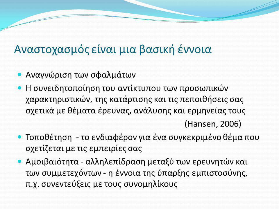 Αναστοχασμός είναι μια βασική έννοια  Αναγνώριση των σφαλμάτων  Η συνειδητοποίηση του αντίκτυπου των προσωπικών χαρακτηριστικών, της κατάρτισης και τις πεποιθήσεις σας σχετικά με θέματα έρευνας, ανάλυσης και ερμηνείας τους (Hansen, 2006)  Τοποθέτηση - το ενδιαφέρον για ένα συγκεκριμένο θέμα που σχετίζεται με τις εμπειρίες σας  Αμοιβαιότητα - αλληλεπίδραση μεταξύ των ερευνητών και των συμμετεχόντων - η έννοια της ύπαρξης εμπιστοσύνης, π.χ.