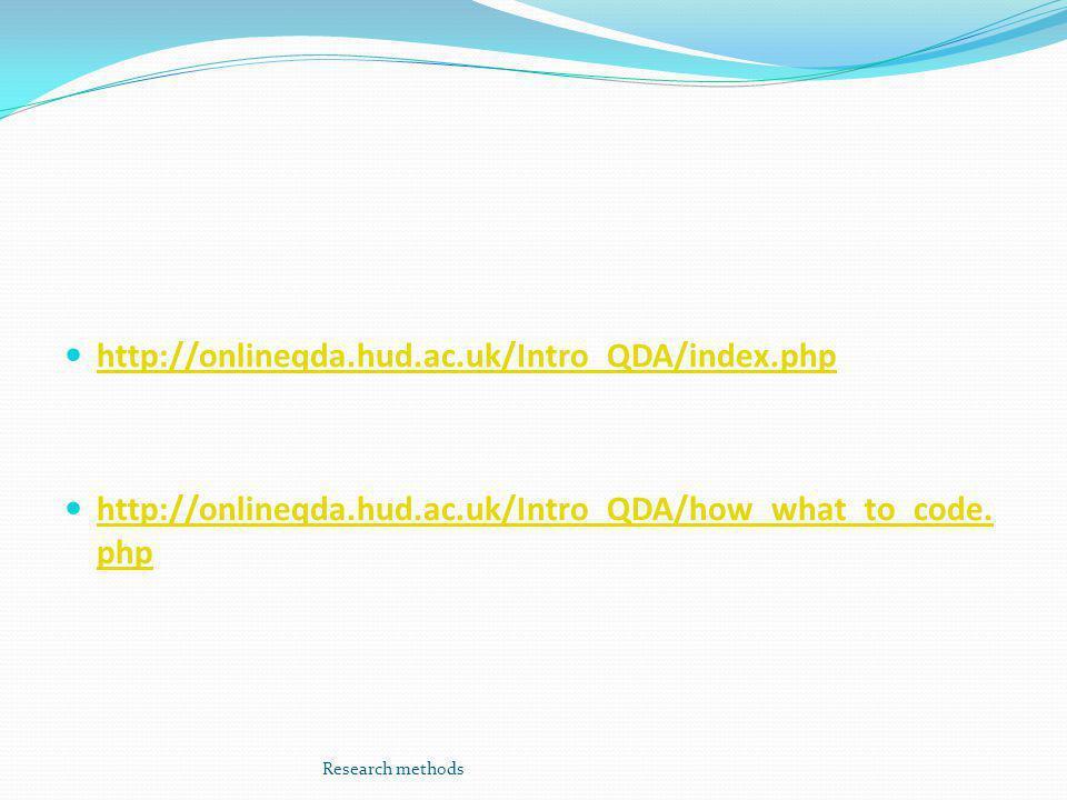  http://onlineqda.hud.ac.uk/Intro_QDA/index.php http://onlineqda.hud.ac.uk/Intro_QDA/index.php  http://onlineqda.hud.ac.uk/Intro_QDA/how_what_to_code.