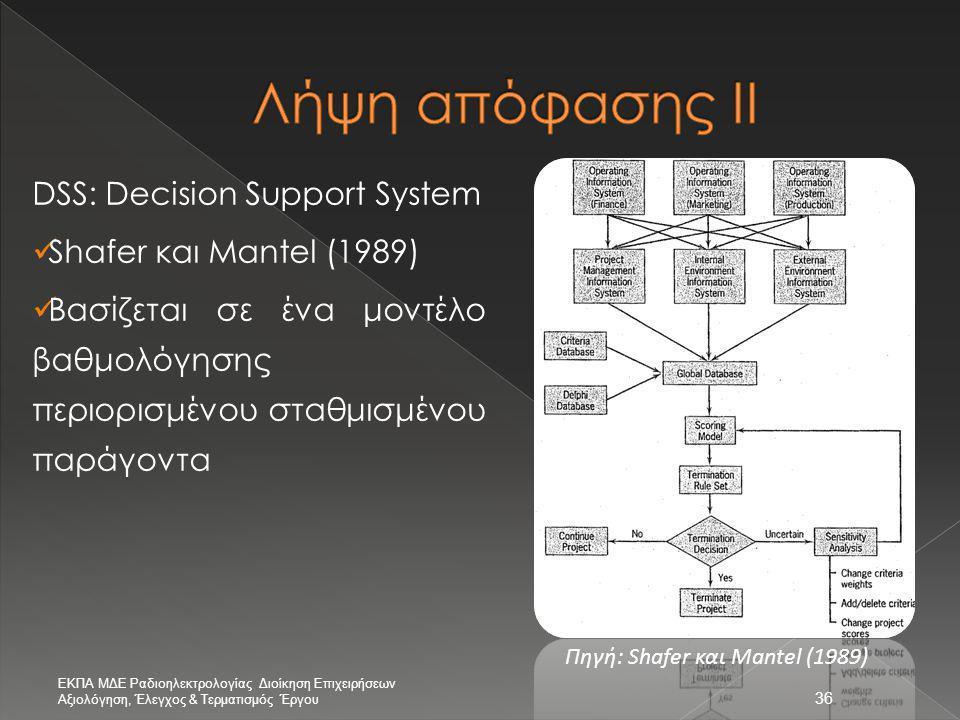 36 DSS: Decision Support System  Shafer και Mantel (1989)  Βασίζεται σε ένα μοντέλο βαθμολόγησης περιορισμένου σταθμισμένου παράγοντα Πηγή: Shafer κ