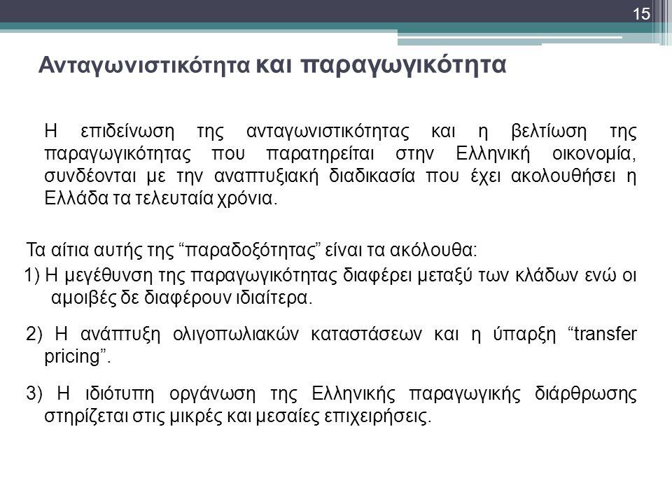 Ανταγωνιστικότητα και παραγωγικότητα Η επιδείνωση της ανταγωνιστικότητας και η βελτίωση της παραγωγικότητας που παρατηρείται στην Ελληνική οικονομία,