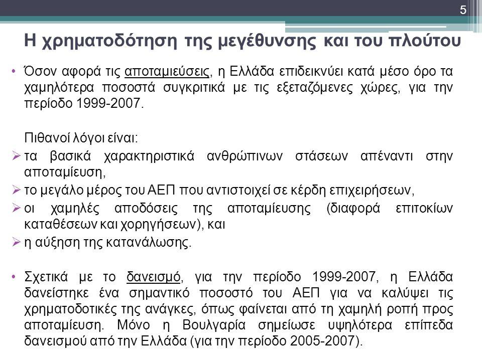 Η χρηματοδότηση της μεγέθυνσης και του πλούτου •Όσον αφορά τις αποταμιεύσεις, η Ελλάδα επιδεικνύει κατά μέσο όρο τα χαμηλότερα ποσοστά συγκριτικά με τ