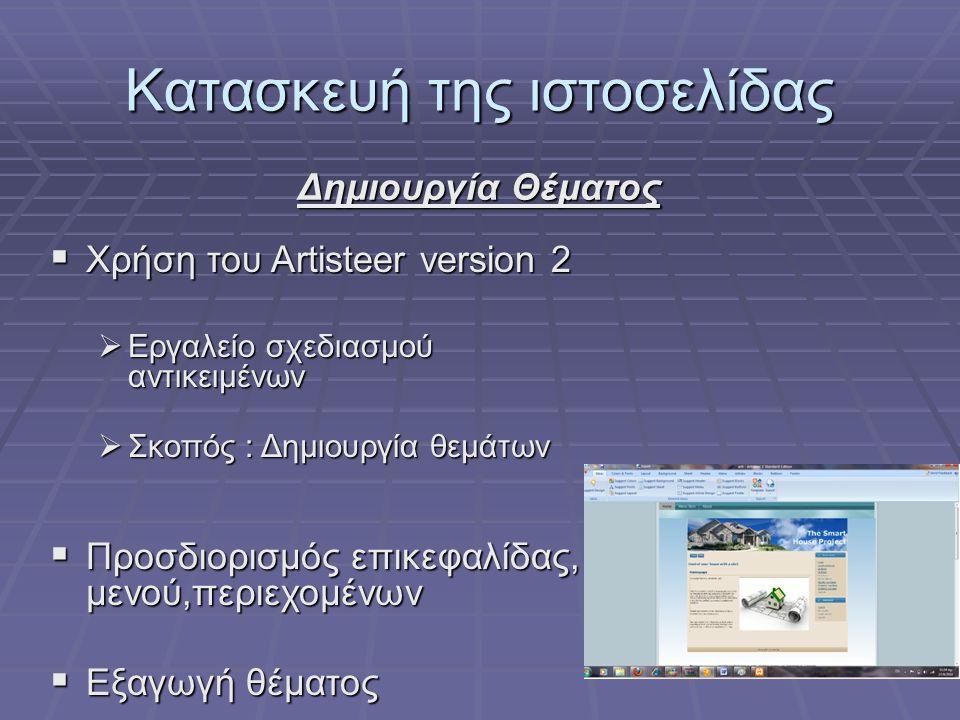 Κατασκευή της ιστοσελίδας Δημιουργία Θέματος  Χρήση του Artisteer version 2  Εργαλείο σχεδιασμού αντικειμένων  Σκοπός : Δημιουργία θεμάτων  Προσδιορισμός επικεφαλίδας, μενού,περιεχομένων  Εξαγωγή θέματος