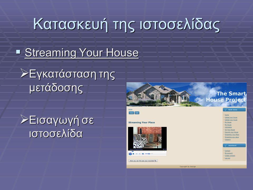 Κατασκευή της ιστοσελίδας  Streaming Your House  Εγκατάσταση της μετάδοσης  Εισαγωγή σε ιστοσελίδα