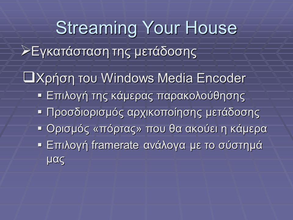 Streaming Your House  Εγκατάσταση της μετάδοσης  Χρήση του Windows Media Encoder  Επιλογή της κάμερας παρακολούθησης  Προσδιορισμός αρχικοποίησης