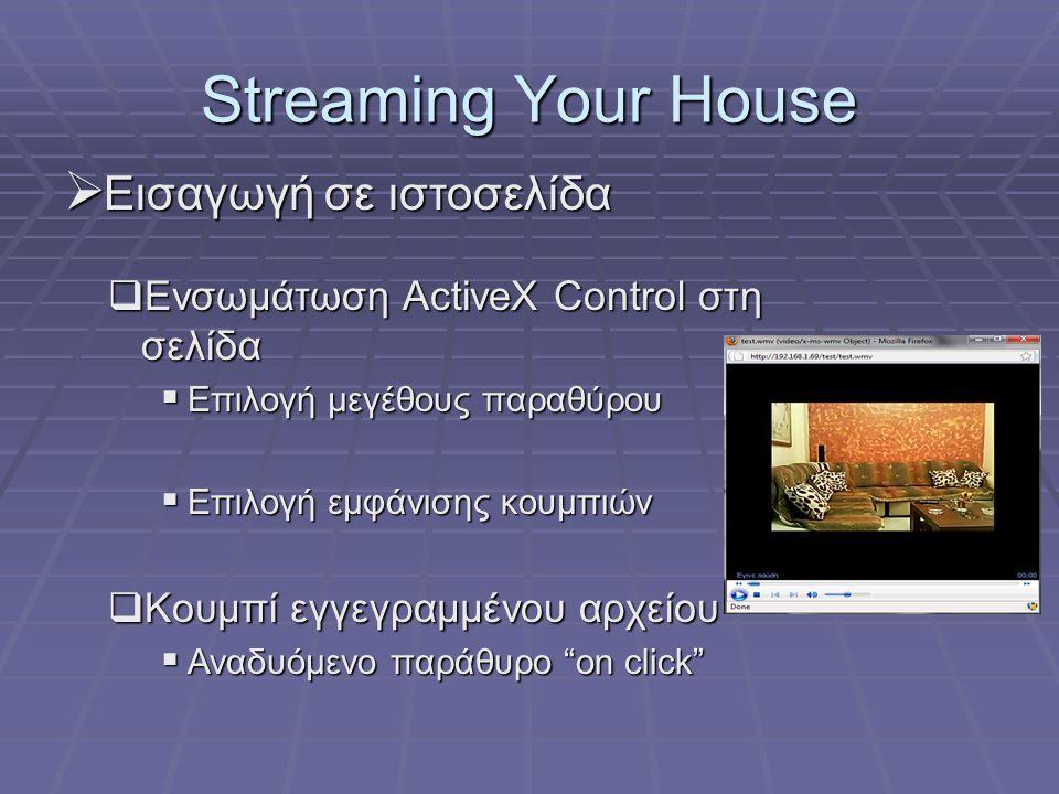 Streaming Your House  Εισαγωγή σε ιστοσελίδα  Ενσωμάτωση ActiveX Control στη σελίδα  Επιλογή μεγέθους παραθύρου  Επιλογή εμφάνισης κουμπιών  Κουμ
