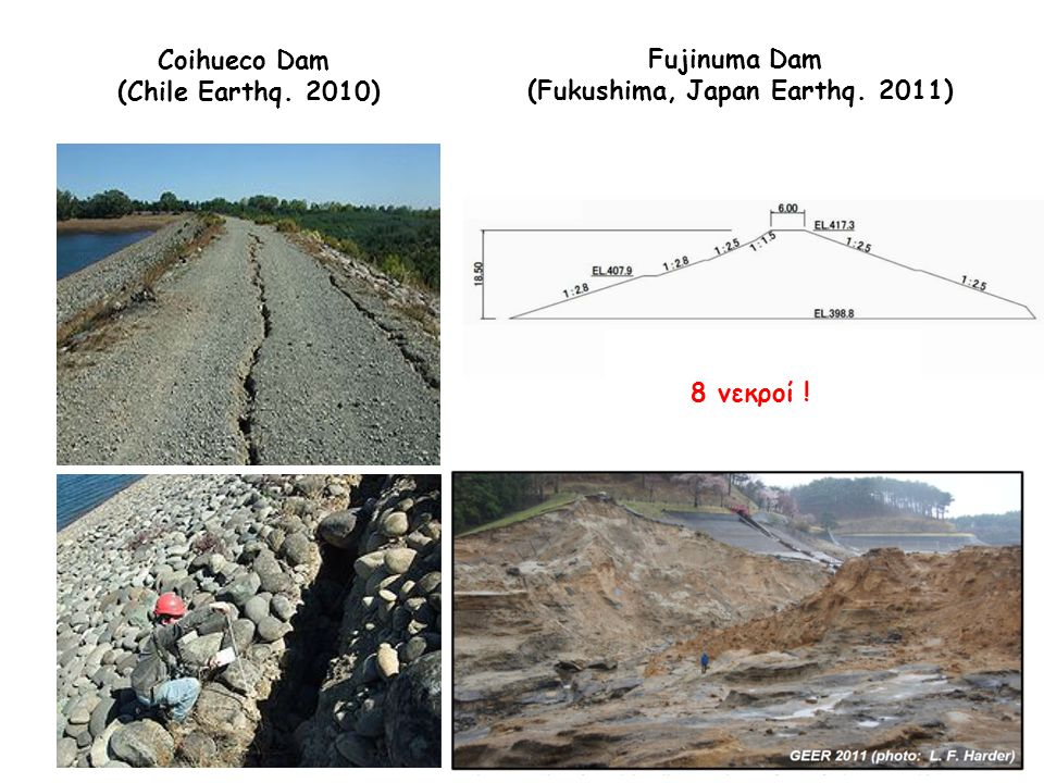 Coihueco Dam (Chile Earthq. 2010) Ρωγμές στην στέψη, βάθους 1.9m Ολίσθηση πρανούς (3.3m στέψη) Fujinuma Dam (Fukushima, Japan Earthq. 2011) 8 νεκροί !