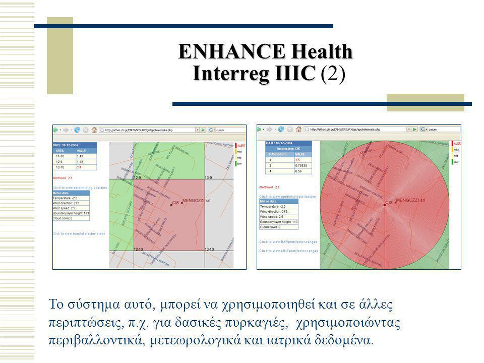 ENHANCE Health Interreg ΙΙΙC ENHANCE Health Interreg ΙΙΙC (2) Το σύστημα αυτό, μπορεί να χρησιμοποιηθεί και σε άλλες περιπτώσεις, π.χ. για δασικές πυρ