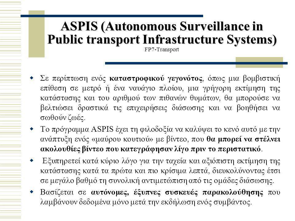 ASPIS (Autonomous Surveillance in Public transport Infrastructure Systems) ASPIS (Autonomous Surveillance in Public transport Infrastructure Systems)