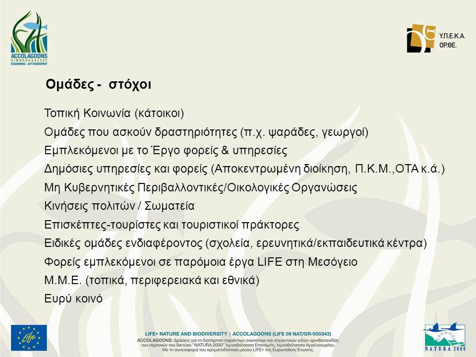 Ομάδες - στόχοι Τοπική Κοινωνία (κάτοικοι) Ομάδες που ασκούν δραστηριότητες (π.χ.