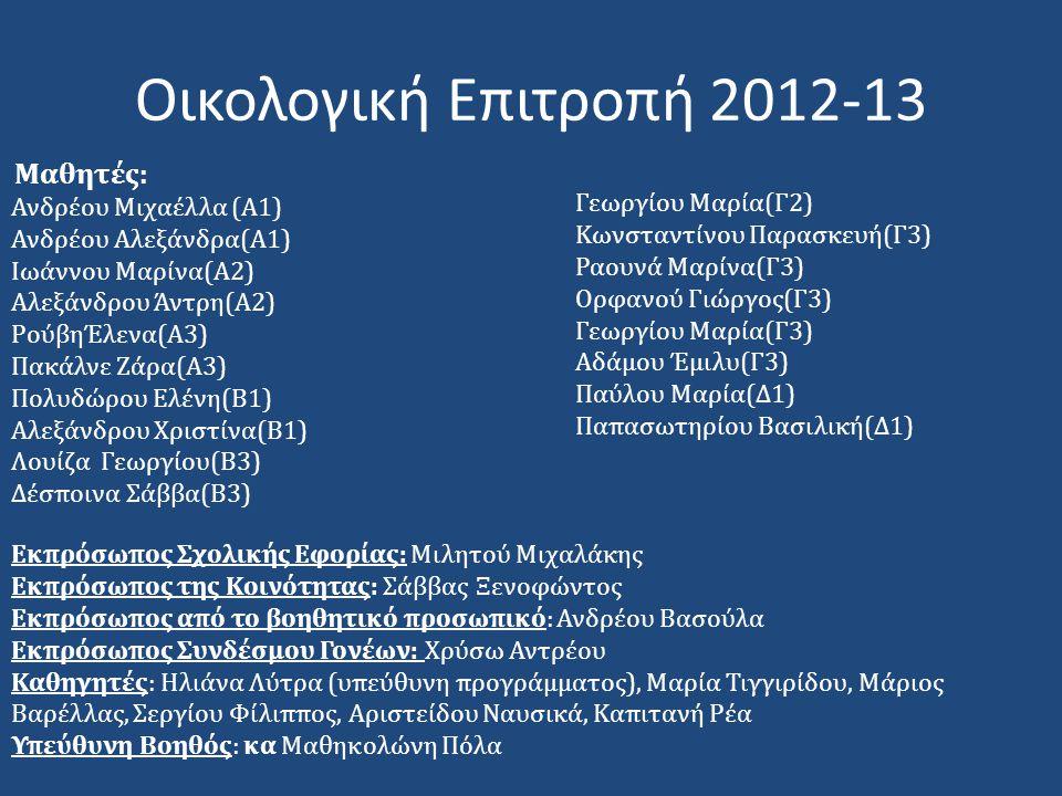 Οικολογική Επιτροπή 2012-13 Μαθητές: Ανδρέου Μιχαέλλα (Α1) Ανδρέου Αλεξάνδρα(Α1) Ιωάννου Μαρίνα(Α2) Αλεξάνδρου Άντρη(Α2) ΡούβηΈλενα(Α3) Πακάλνε Ζάρα(Α