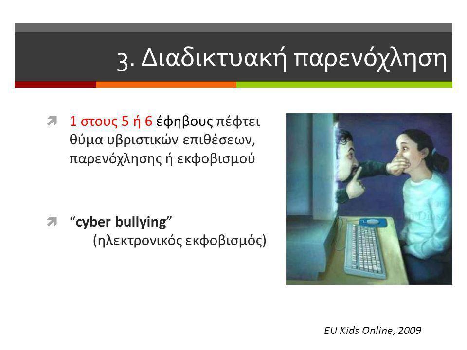 """3. Διαδικτυακή παρενόχληση  1 στους 5 ή 6 έφηβους πέφτει θύμα υβριστικών επιθέσεων, παρενόχλησης ή εκφοβισμού  """"cyber bullying"""" (ηλεκτρονικός εκφοβι"""