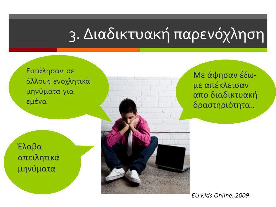 3. Διαδικτυακή παρενόχληση Έλαβα απειλητικά μηνύματα Με άφησαν έξω- με απέκλεισαν απο διαδικτυακή δραστηριότητα.. Eστάλησαν σε άλλους ενοχλητικά μηνύμ